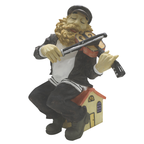"Black Polyresin Sits Hassidic Figurine - ""fiddler On The Roof"" -  41 Cm"