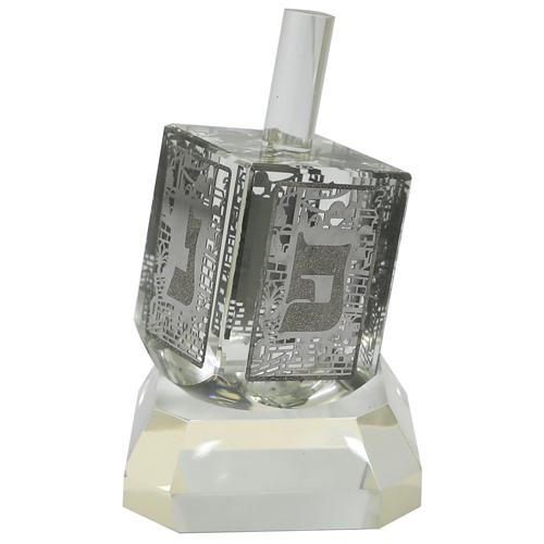 Crystal Dreidel 12cm With Metal Plate- N.g.h.poh