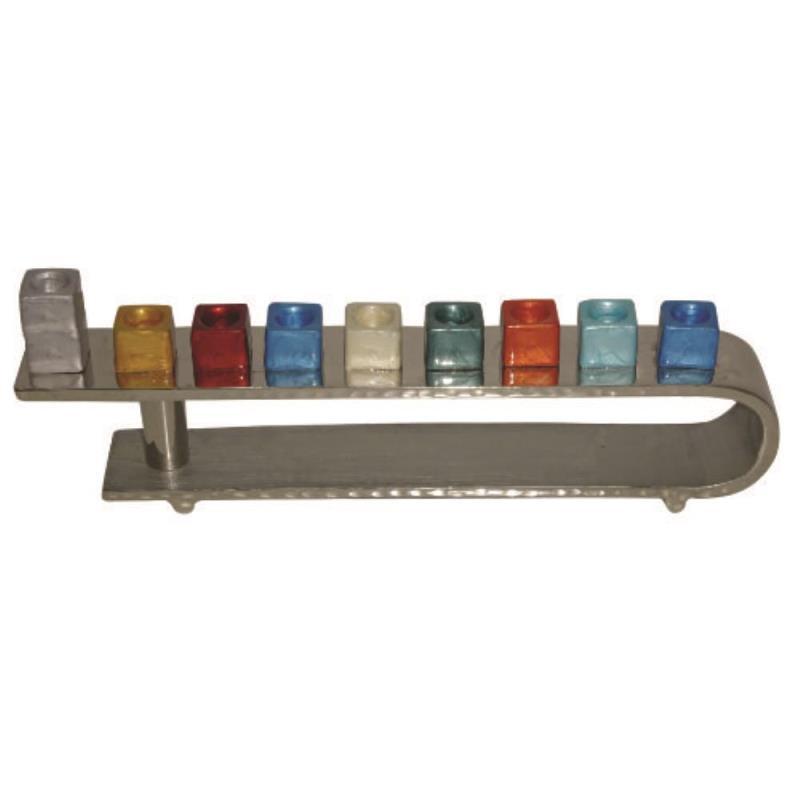 Aluminium Hammered Design Menorah 31*9cm With Multicolored Branches