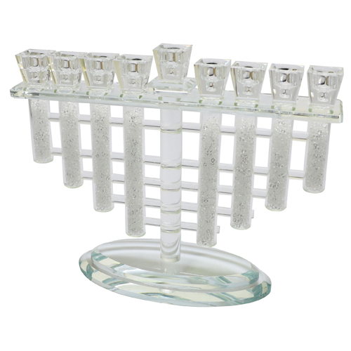 Crystal Menorah 26*22cm- Multicolored With White Stones