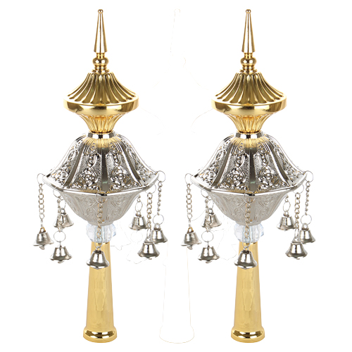 Pair Of Rimonim For Torah 26 Cm- Silver & Gold Finish
