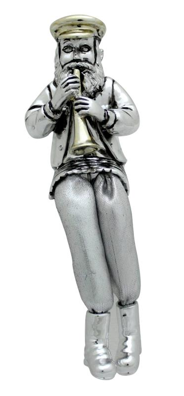 Silvered Polyresin Sitting Hassidic Figurine With Cloth Legs 15 Cm-  Clarinet Player