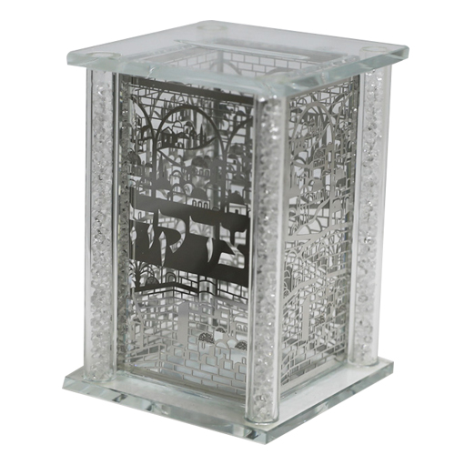 Elegant Crystal Tzedakah Box With Metal Plates 13x9 Cm