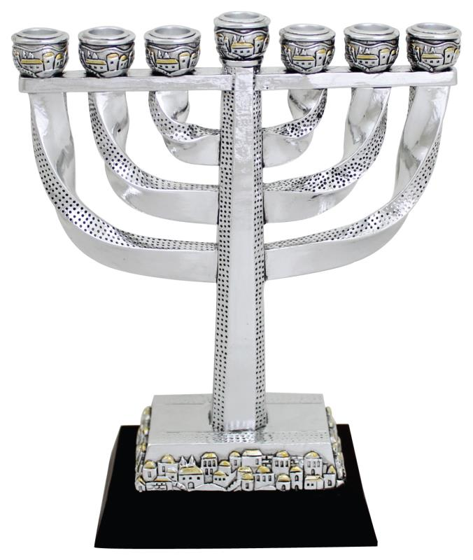 Elegant Silvered Polyresin Menorah 20 Cm With Base