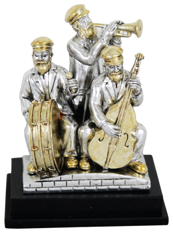 Three Silvered Polyresin Hassidic Figurines Stand On Stage 10 Cm - Harp