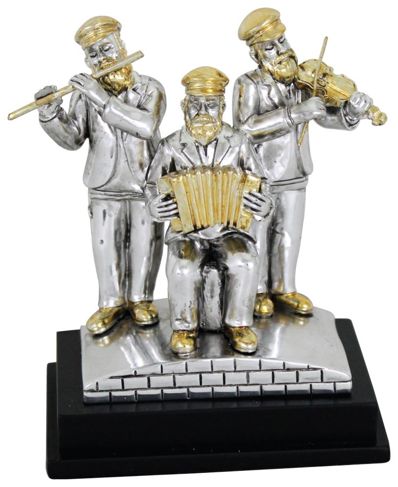 Three Silvered Polyresin Hassidic Figurine Stand On Stage 11 Cm - Accordion