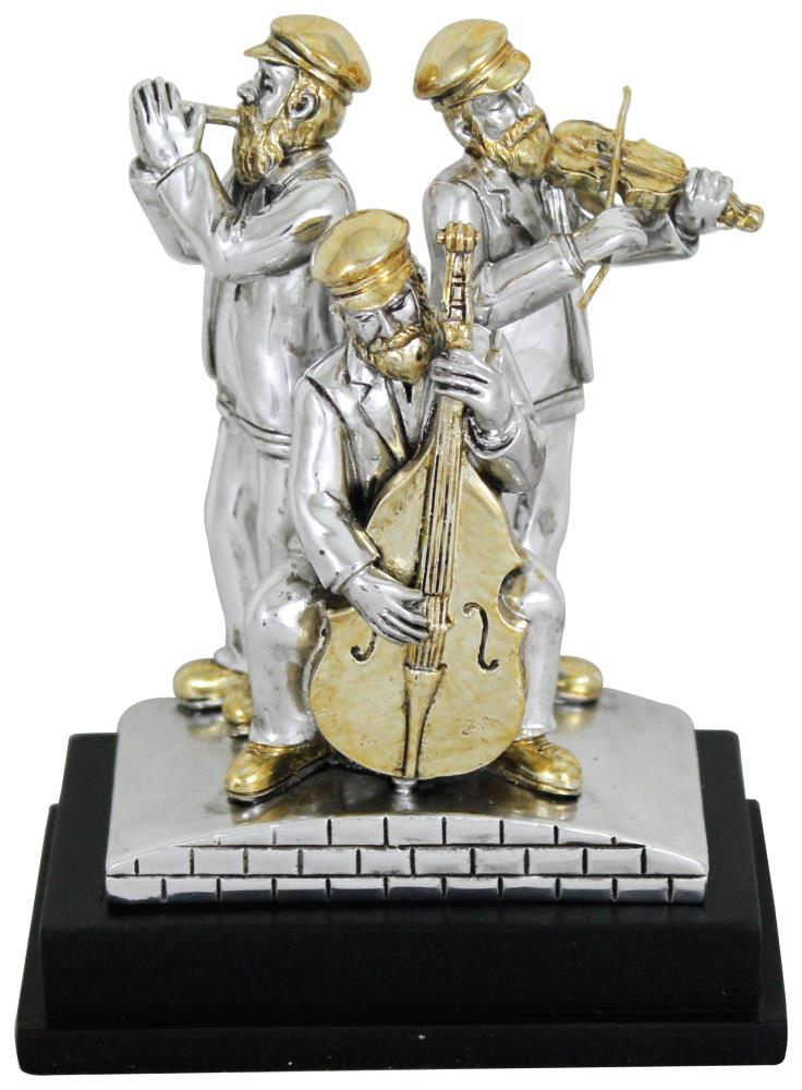 Three Silvered Polyresin Hassidic Figurines Stand On Stage 11 Cm - Harp