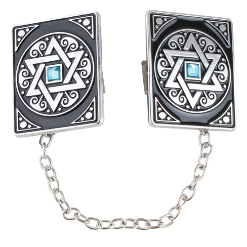 Nickel Tallit Clips Star Of David With Chain