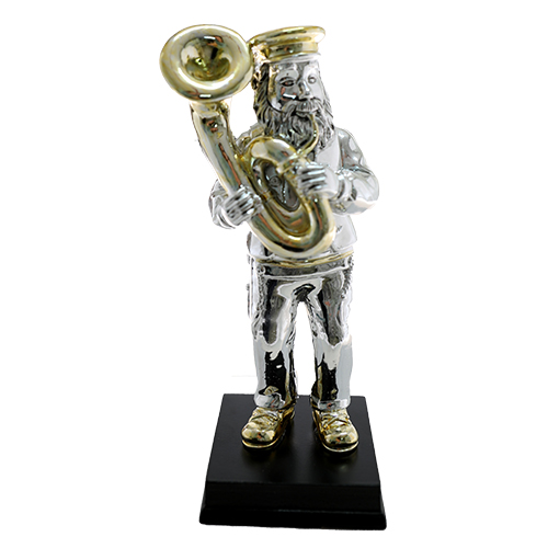 Silvered Polyresin Hassidic Figurine Stands On Stage 18 Cm - Tuba Player