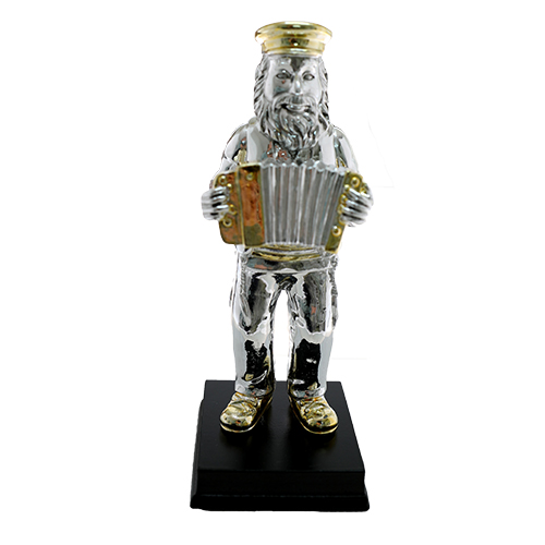 Silvered Polyresin  Hassidic Figurine Stands On Stage 17 Cm - Accordion Player
