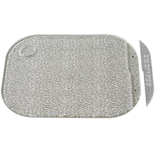 Elegant Silver Acrilic Challah Tray With Insert Knife 28x37 Cm