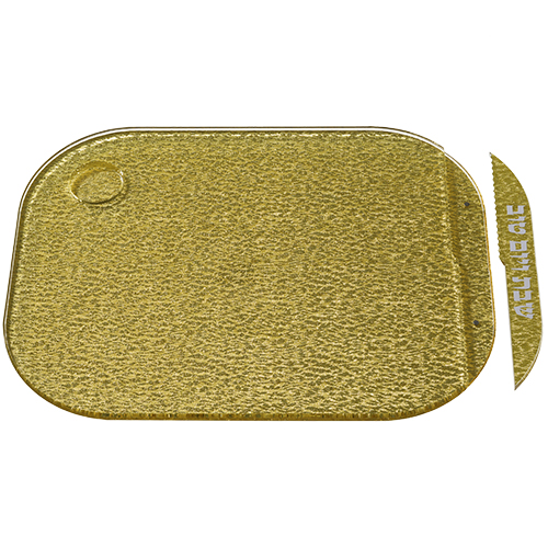 Elegant Golden Acrilic Challah Tray With Knife 28x37 Cm