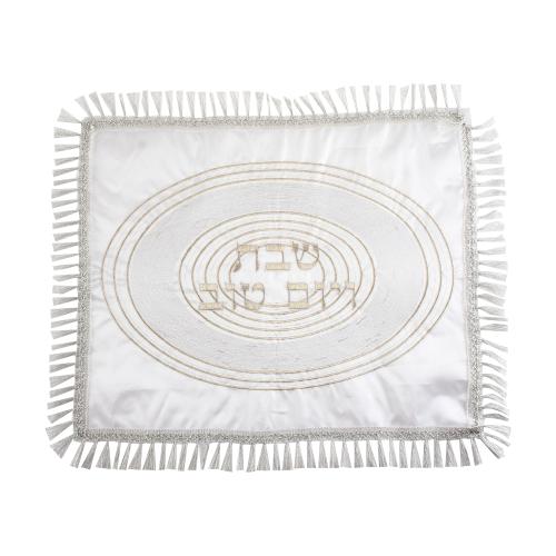 Satin Challah Cover - Silver Spiral Design 48x58 Cm