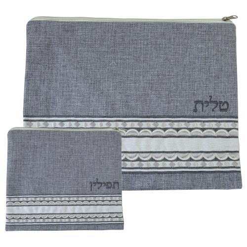 Linen Tallit & Tefillin Set  29x35 Cm- Embroidered Gray Design