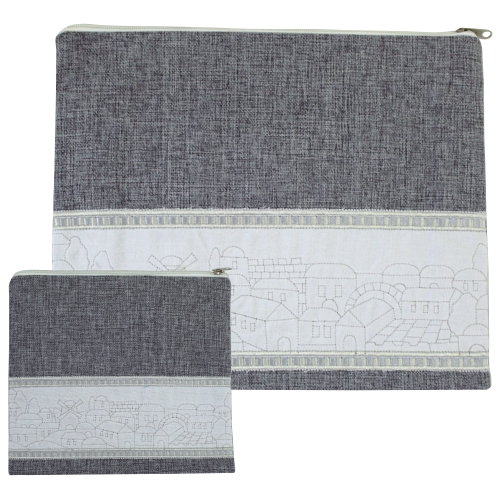 Linen Tallit And Tefillin Set 29x35 Cm- Gray With Jerusalem Embroidered Design