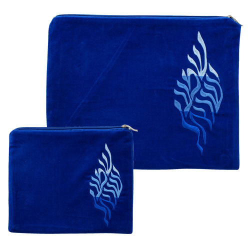 "Velvet Tallit And Tefillin Set - ""shma Israel"" Embrodery - Light Blue - 29x37 Cm"