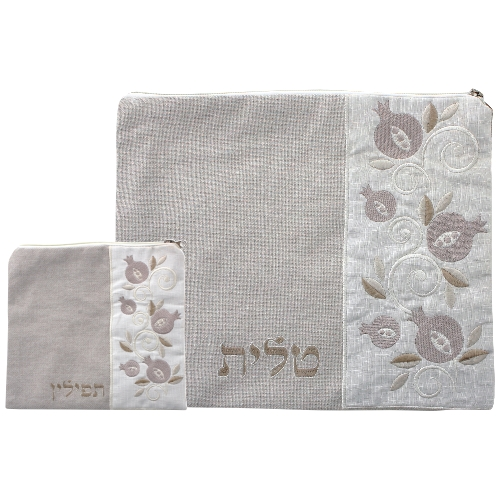 Set: Linen Talit And Tefillin Bags 36*29cm- Beige With Embroidery- Pomegranate Motif