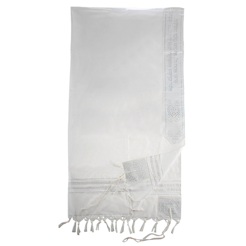 Acrylic Tallit Size 60- 140*185cm White & Silver Striped Design