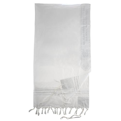 Acrylic Tallit Size 60- 140*185cm White & Silver Striped Design