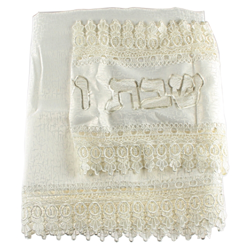 "An Elegant White Tablecloth With White Runner ""shabbat & Holiday"" - 140x280 Cm"