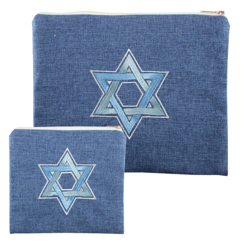 Linen Talit & Tefillin Set  30x36 Cm  Blue Magen David Embroidered Design