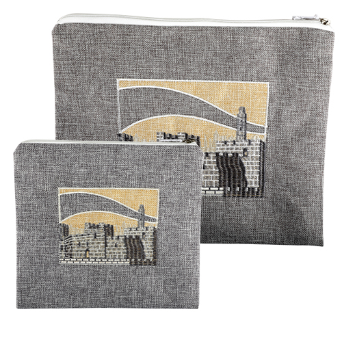 Linen Tallit And Tefillin Set 29x35 Cm- Gray With Jerusalem Thick Embroidered Design