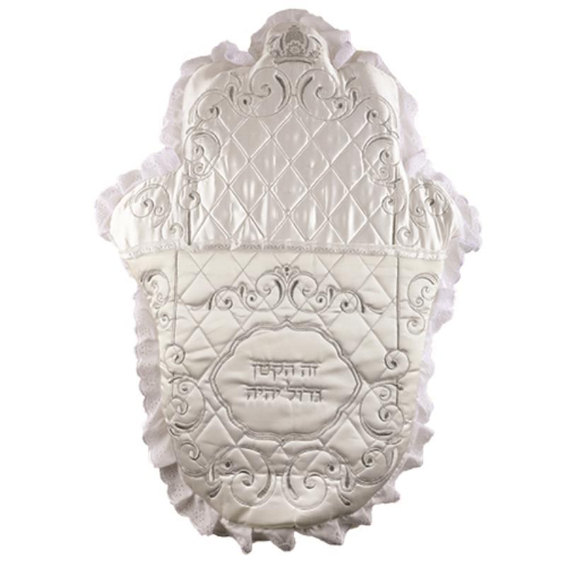 Elegant Hamsa Shape Satin Bris Pillow 74x57 Cm With Embroidery