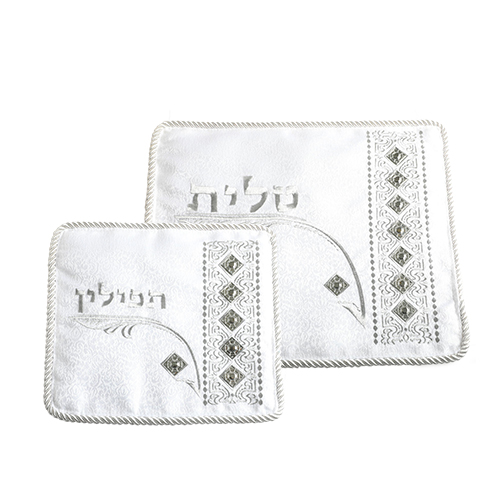 """C Talit- Tefilin Set 29x36 Cm- White With Thick Embroidery """"vilna Gate"""""""