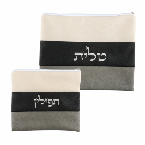 Luxurious Faux Leather Talit & Tefillin Set  30x36 Cm