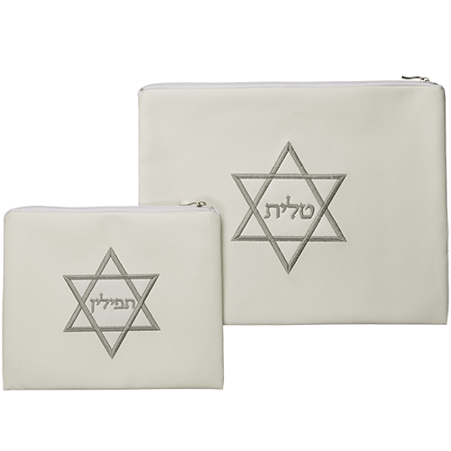Leather-like Talit And Tefilin Set 37*30 Cm- Magen David