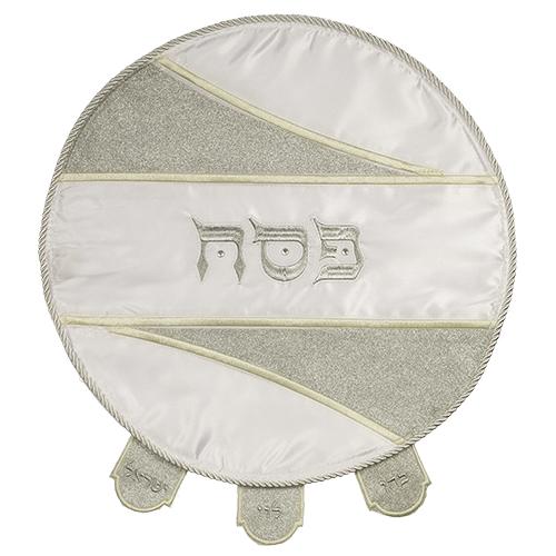 Elegant White Satin Matzah Cover Laid With Stones