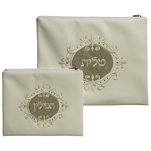 White Faux Leather Tallit And Tefillin Set Laid With Stones- Centered Golden Glitter 30x37 Cm