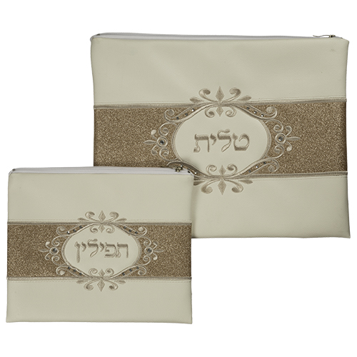 White Faux Leather Tallit And Tefillin Set  Laid With Stones - Centered Cooper Glitter 30x37 Cm