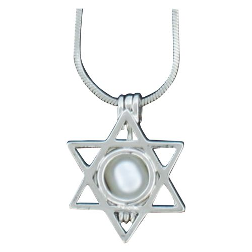 Radium Pendant Star Of David +pearl