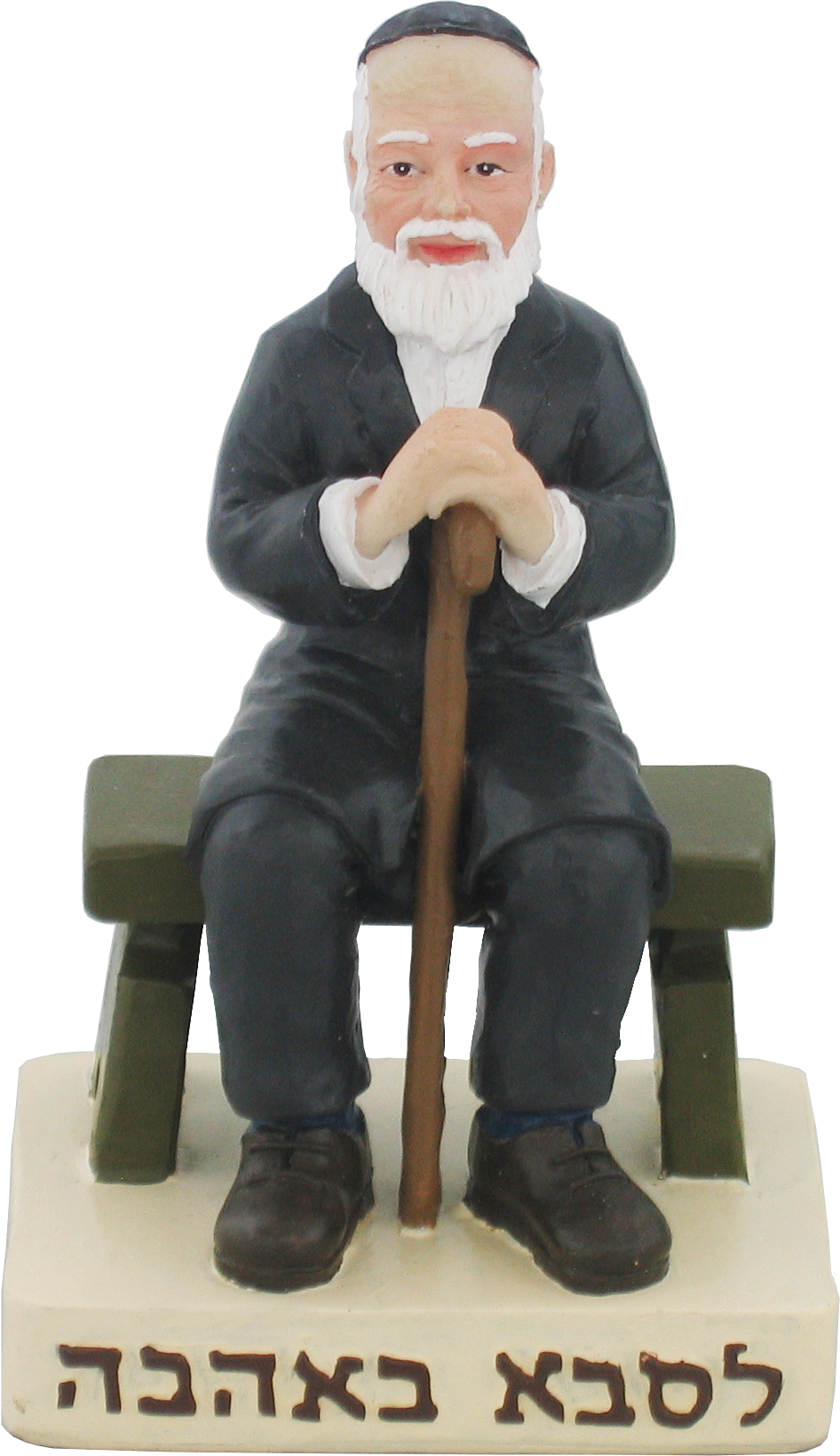 Polyresin Grandfather Sits On A Bench And Holds A Walking Stick 11 Cm - For Grandfather With Love