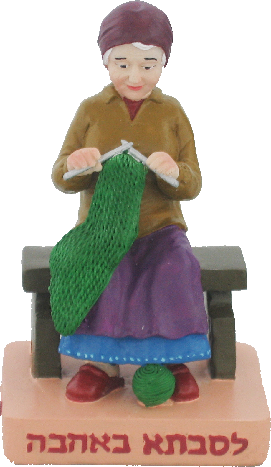 Polyresin Grandmother Sits On A Bench And Knits 11 Cm - For Grandmother With Love