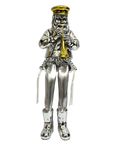 Silvered Polyresin Sitting Hassidic Figurine With Cloth Legs 26 Cm- Clarinet Player