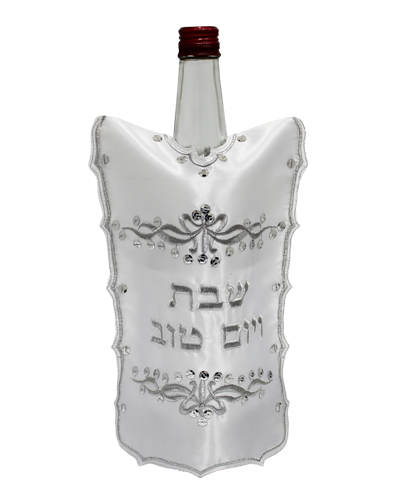 "Satin Cover For Wine Bottle ""ornate"" Design 26 Cm"