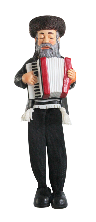 Black Polyresin Sitting Hassidic Figurine With Black Cloth Legs 15 Cm - Accordion Player