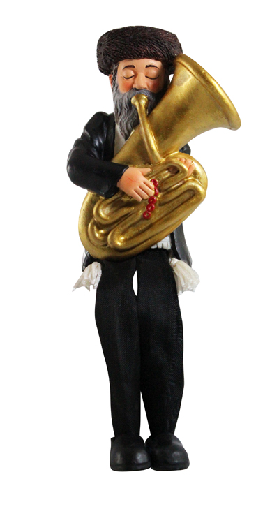 Black Polyresin Sitting Hassidic Figurine With Black Cloth Legs 16 Cm- Tuba Player
