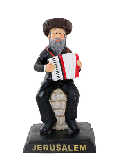 Black Polyresin Hassidic Figurine Sits On Stage 10 Cm -  Accordion Player