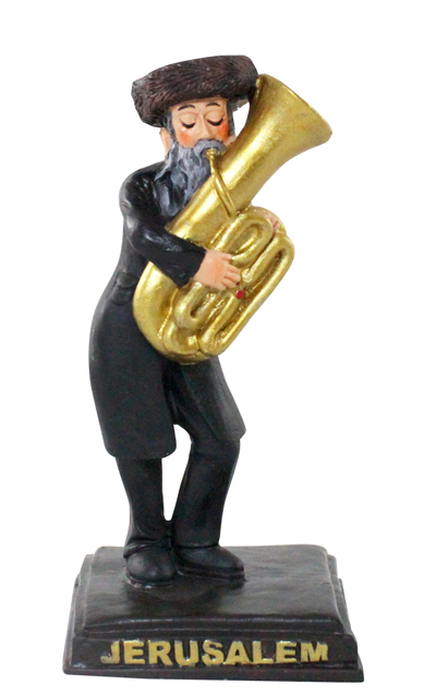 Black Polyresin Hassidic Figurine Stands On Stage 11 Cm - Tuba Player