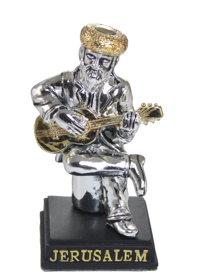 Silvered Polyresin Hassidic Figurine Sits On Stage 8 Cm- Guitar Player