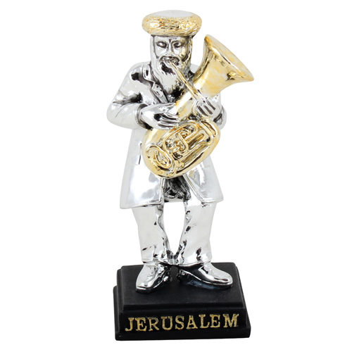 Silvered Polyresin Hassidic Figurine Stands On Stage 9 Cm- Tuba Player