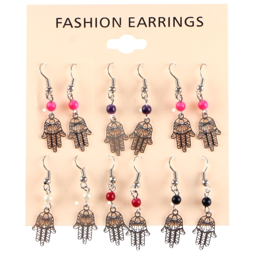 Rhodium Earrings- Hamsa