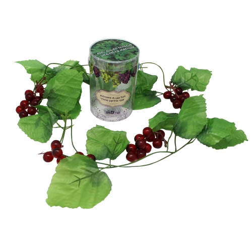 Plastic Leaf Chain 200cm With 4 Clusters Of Grapes In Pvc Box