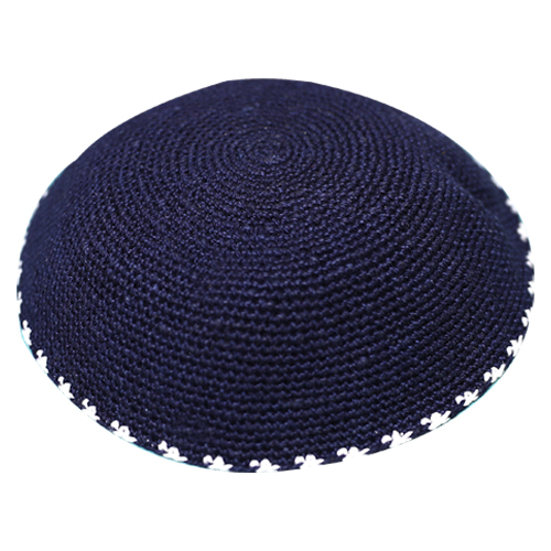 C Knitted DMC Kippah 9 Cm- Blue With White Around