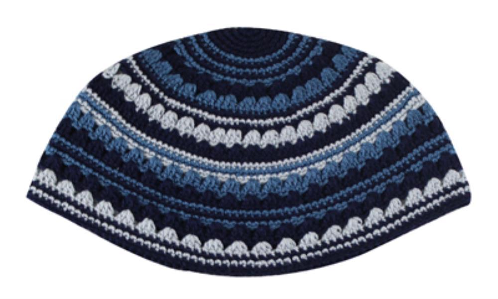 Hand Made Frik Kippah  24cm- Blue Color