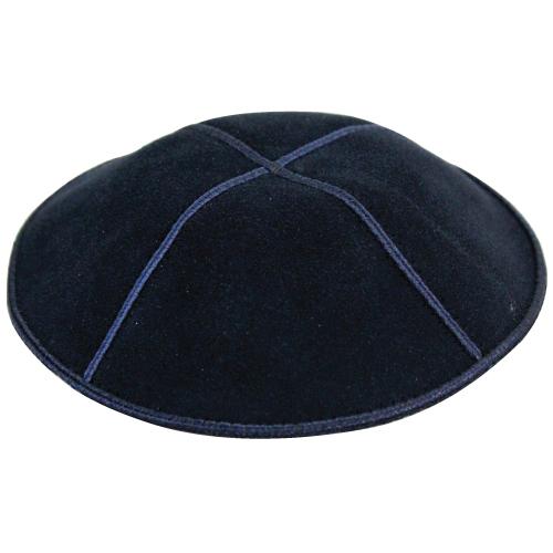 Suede Kippah 17cm- Navy Blue