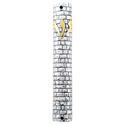 "Silvered Polyresin Mezuzah 15 Cm - Golden ""shin"" Kotel Design"